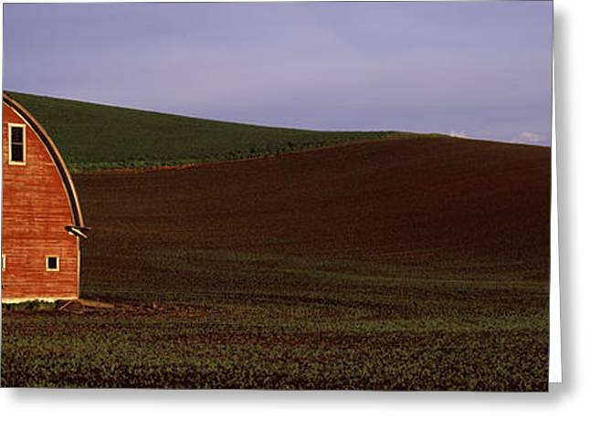 Barn In A Field At Sunset, Palouse Greeting Card by Panoramic Images