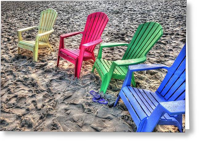 4 Beach Chairs Greeting Card by Michael Thomas