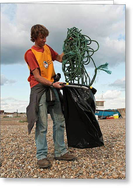 Beach Clean-up Greeting Card by Matthew Oldfield