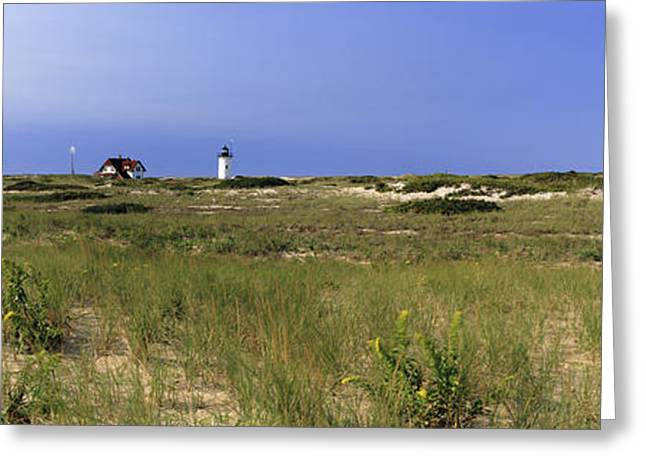 Beach With Lighthouse Greeting Card by Panoramic Images