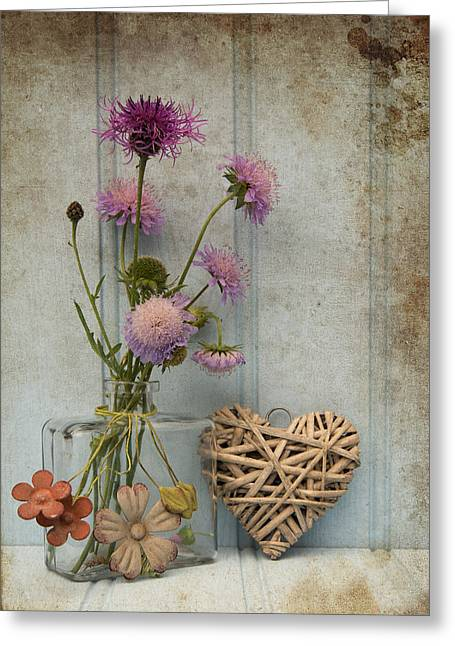 Beautiful Flower In Vase With Heart Still Life Love Concept Greeting Card