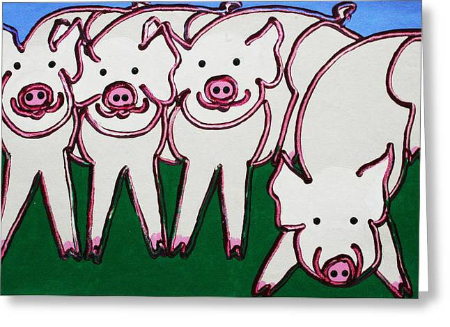 4 Beige Pigs Greeting Card by Matthew Brzostoski