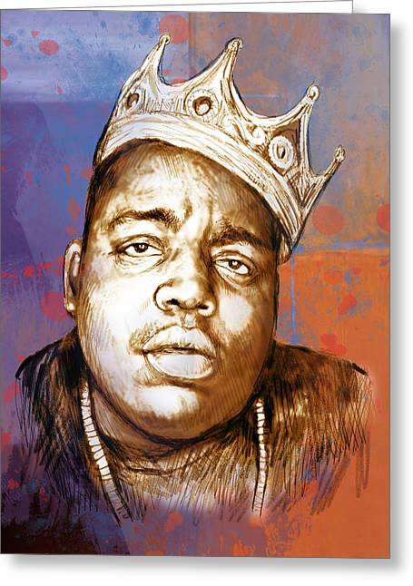 Biggie Smalls Colour Drawing Art Poster Greeting Card by Kim Wang