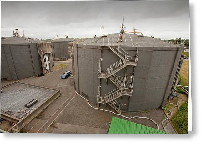 Biodigesters At Sewage Plant Greeting Card by Ashley Cooper