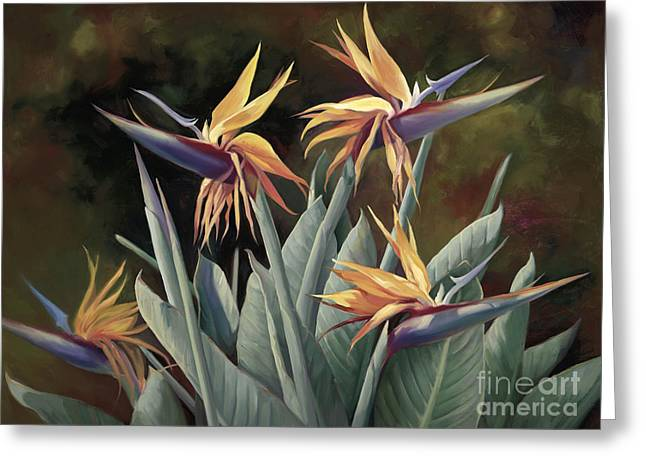 4 Birds Of Paradise Greeting Card by Laurie Hein