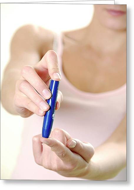 Blood Glucose Testing Greeting Card by Aj Photo/science Photo Library