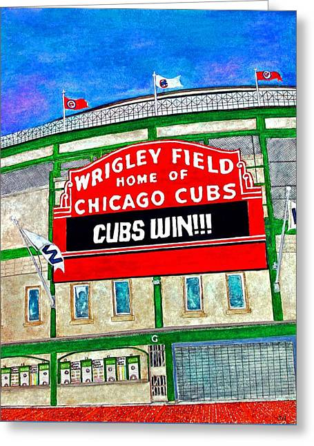 Blue Skies Over Wrigley Greeting Card by Janet Immordino