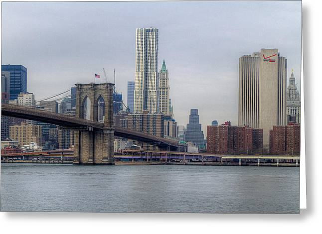 Greeting Card featuring the photograph Brooklyn Bridge by Jerry Gammon