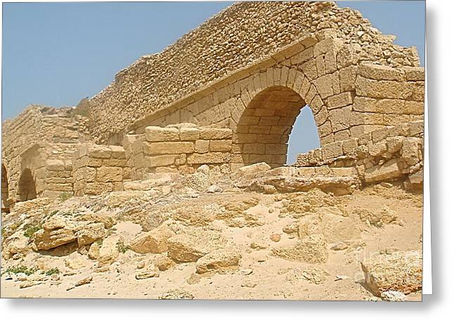 Caesarea Israel Ancient Roman Remains Greeting Card by Robert Birkenes
