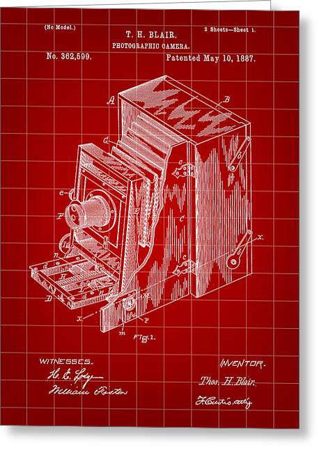 Camera Patent 1887 - Red Greeting Card