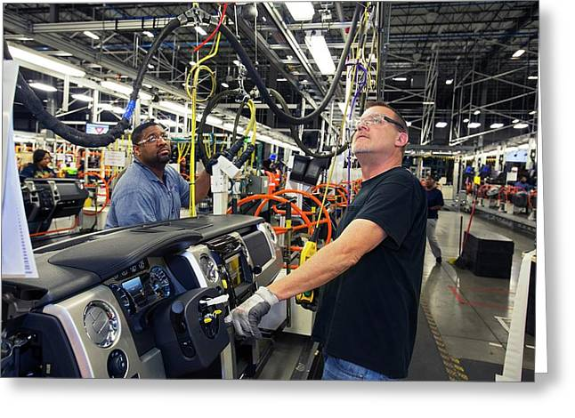 Car Dashboard Assembly Line Greeting Card by Jim West