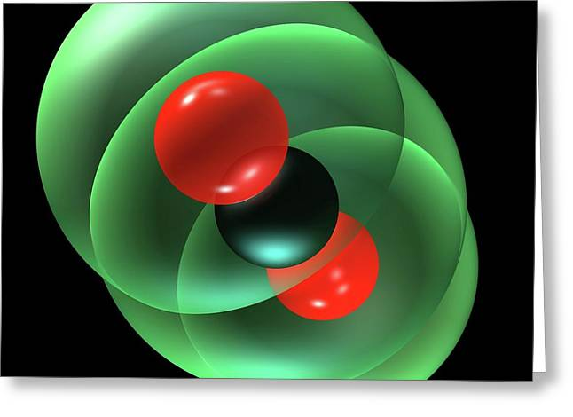 Carbon Dioxide Molecule Greeting Card by Russell Kightley