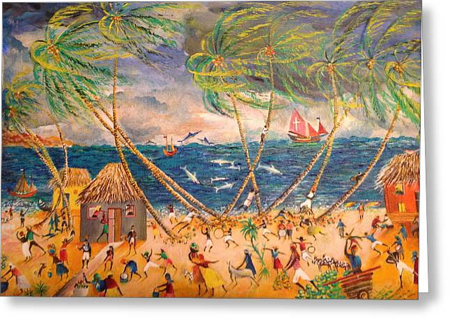 Caribbean Village Greeting Card by Egidio Graziani