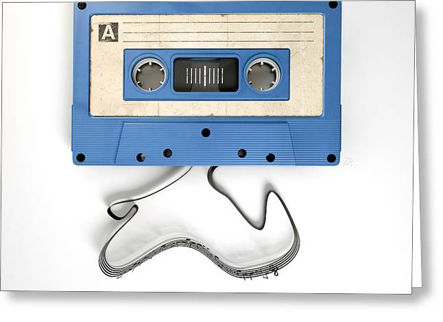Cassette Tape And Musical Notes Concept Greeting Card by Allan Swart