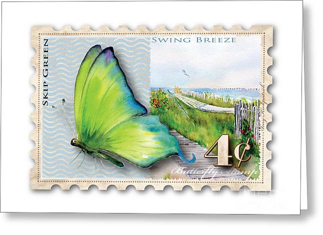 4 Cent Butterfly Stamp Greeting Card by Amy Kirkpatrick