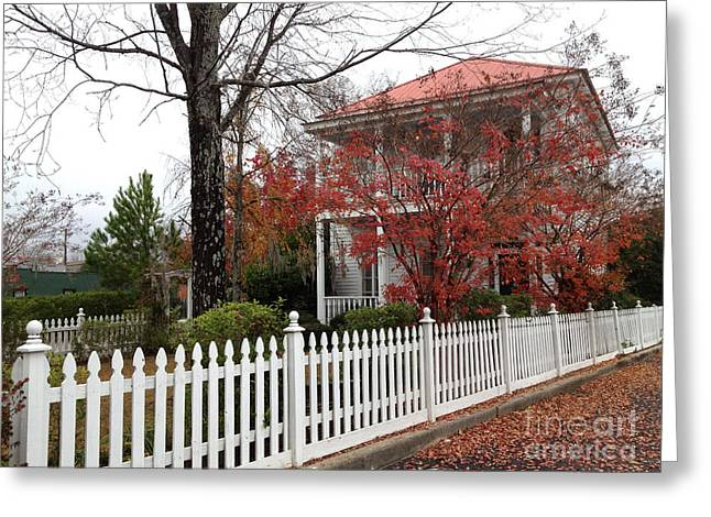 Charleston Historical Victorian Mansion - Charleston Autumn Fall Trees And White Picket Fence Greeting Card by Kathy Fornal