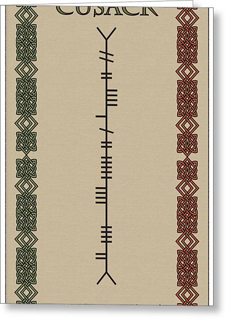 Cusack Written In Ogham Greeting Card