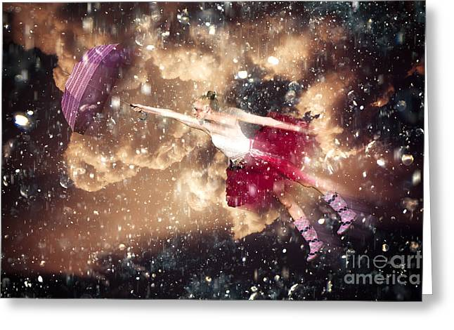 Dancing In The Rain Greeting Card by Jorgo Photography - Wall Art Gallery