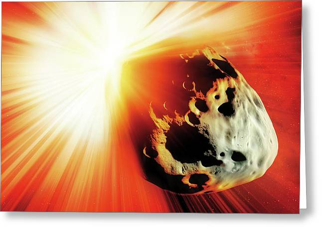Deflecting A Near-earth Asteroid Greeting Card by Detlev Van Ravenswaay