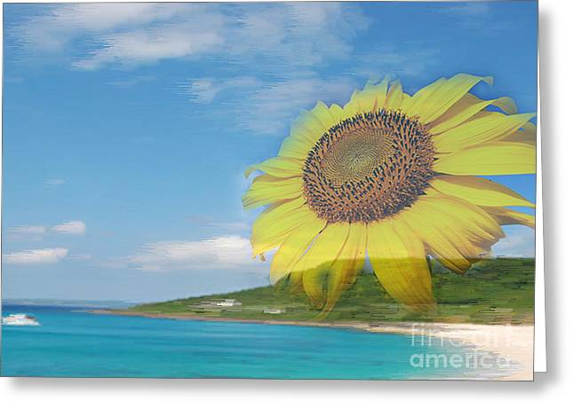 Sunflower Facing The Oceans  Greeting Card
