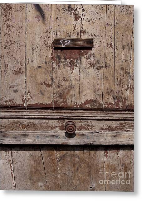 Door With Peeling Paint Greeting Card by Bernard Jaubert