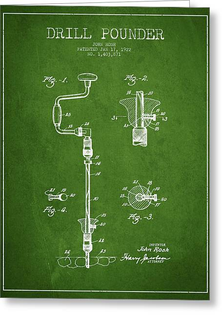 Drill Pounder Patent Drawing From 1922 Greeting Card