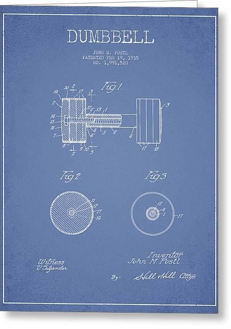 Dumbbell Patent Drawing From 1935 Greeting Card