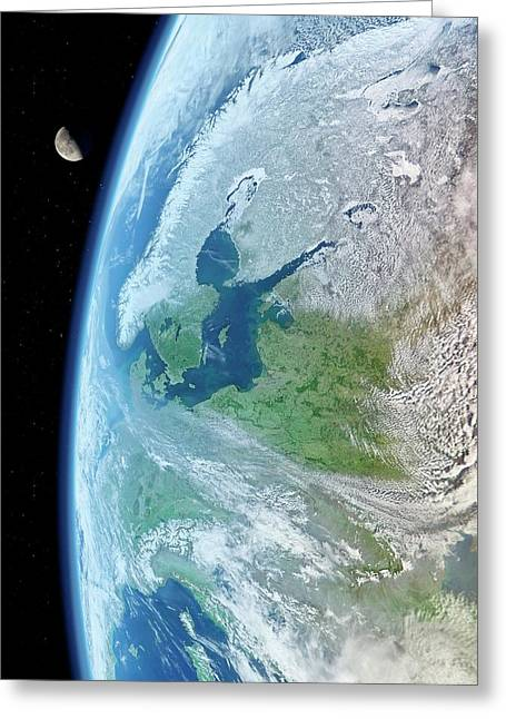 Earth And Moon From Space Greeting Card