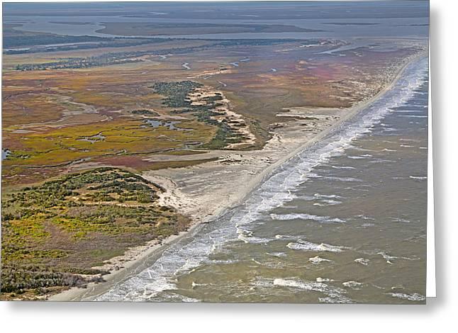 East Coast Aerial Near Jekyll Island Greeting Card by Betsy Knapp