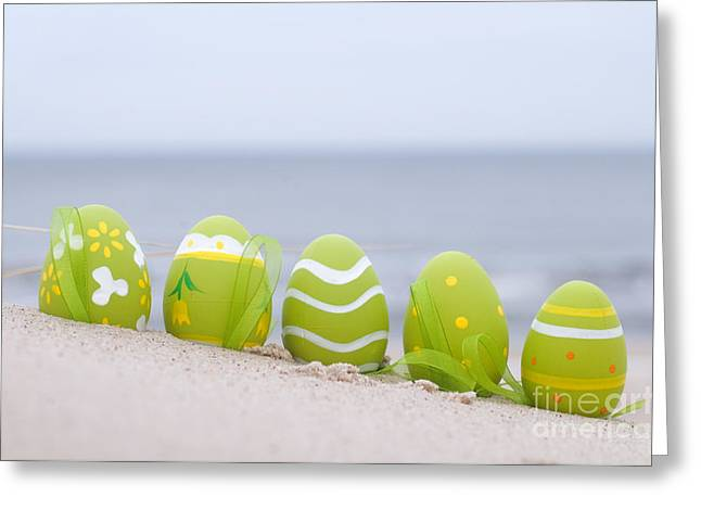 Easter Decorated Eggs On Sand Greeting Card by Michal Bednarek