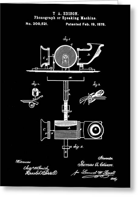 Edison Phonograph Patent 1878 - Black Greeting Card