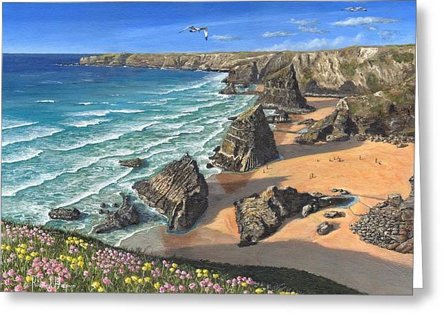 Evening Light Bedruthan Steps Cornwall Greeting Card by Richard Harpum