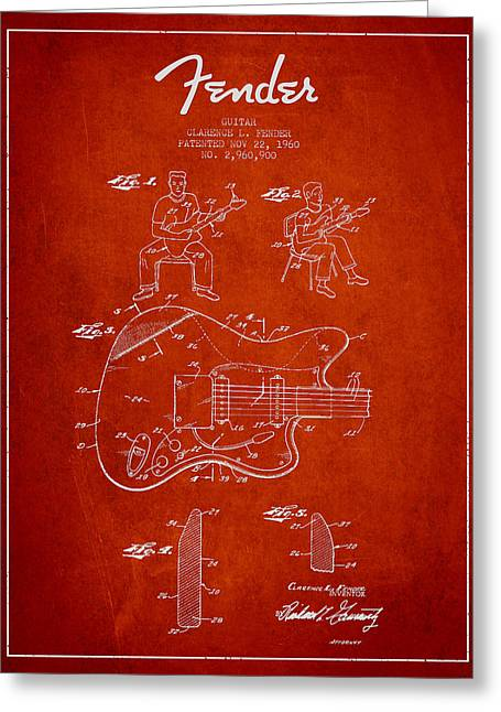 Fender Guitar Patent Drawing From 1960 Greeting Card by Aged Pixel