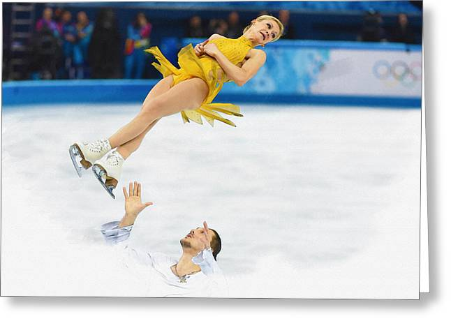 Tatiana Volosozhar And Maxim Trankov Greeting Card by Don Kuing