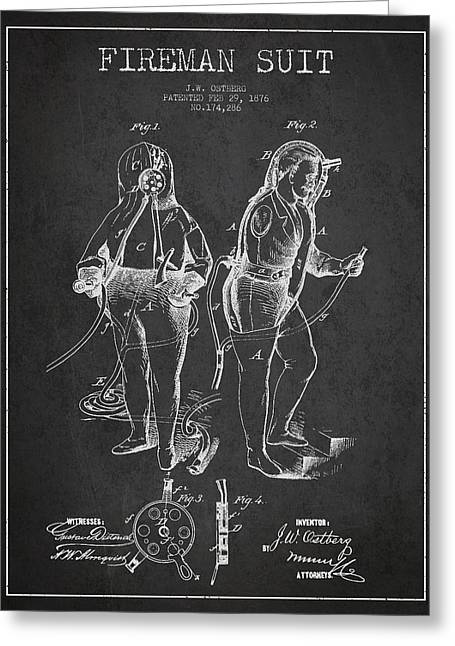 Fireman Suit Patent Drawing From 1826 Greeting Card by Aged Pixel
