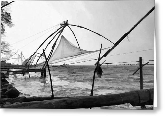 Fishing Nets On The Sea Coast In Alleppey Greeting Card by Ashish Agarwal