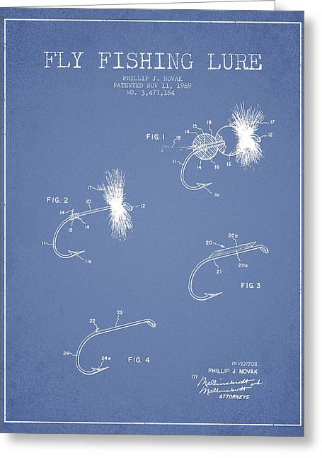 Fly Fishing Lure Patent Drawing From 1969 Greeting Card by Aged Pixel