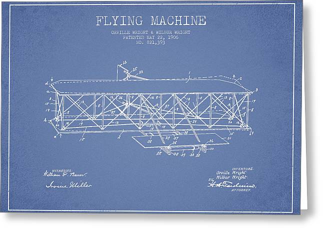 Flying Machine Patent Drawing From 1906 Greeting Card by Aged Pixel