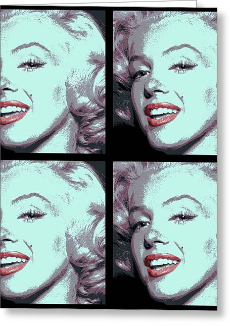 4 Frame Marilyn Pop Art Greeting Card by Daniel Hagerman