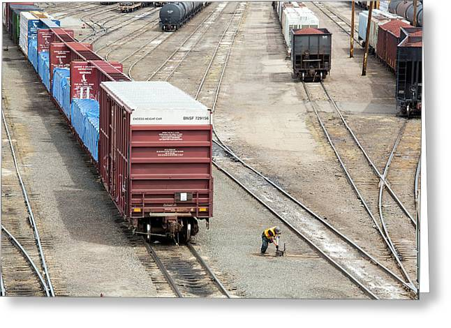 Freight Trains At A Rail Yard Greeting Card