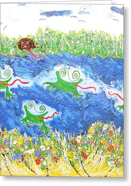 4 Frogs And A Bear Greeting Card