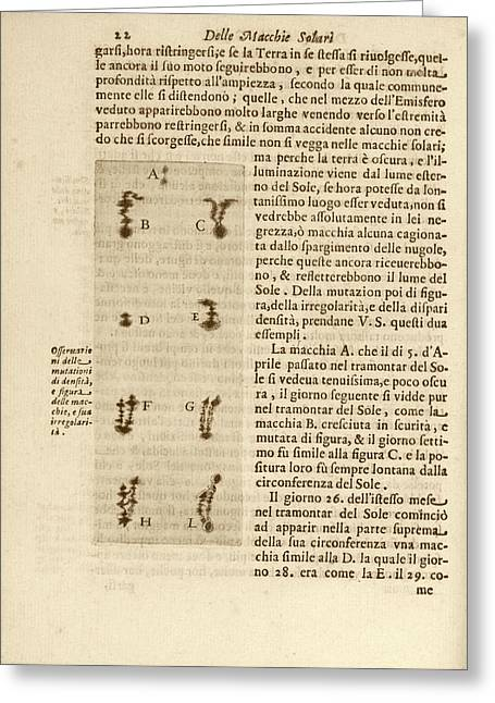 Galileo's Observation Of Sunspots Greeting Card