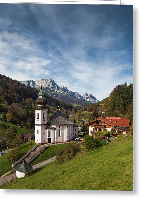 Germany, Bavaria, Maria Gern Village Greeting Card by Walter Bibikow