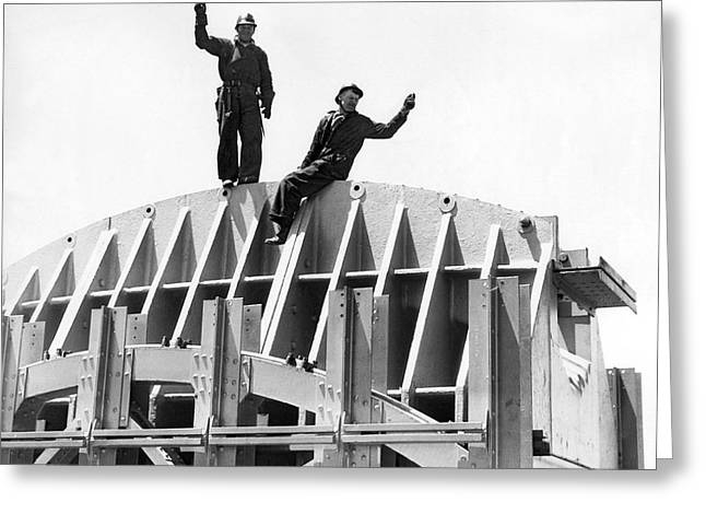 Ggb Tower Under Construction Greeting Card by Underwood Archives