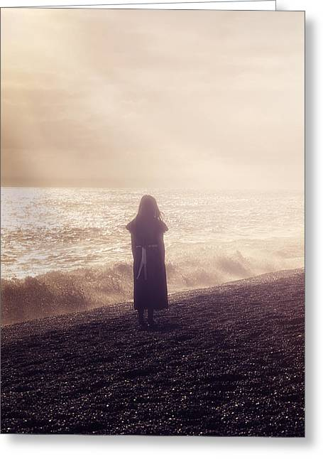 Girl On Beach Greeting Card by Joana Kruse