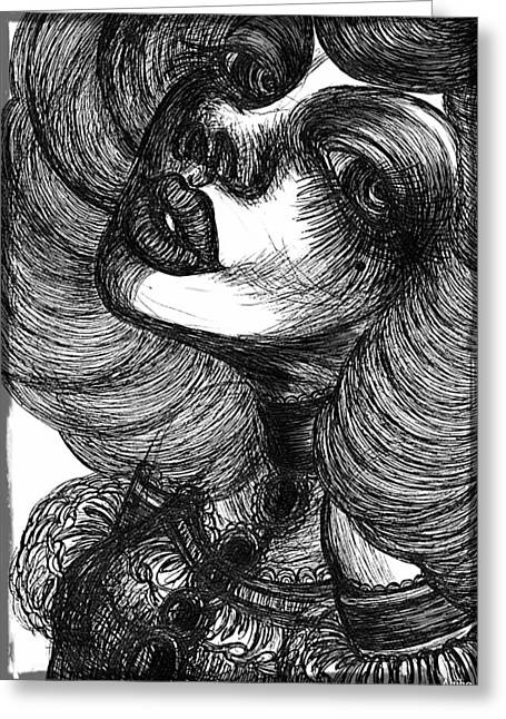 Gothic Lady Greeting Card by Akiko Okabe