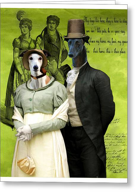Greyhound Art Canvas Print Greeting Card