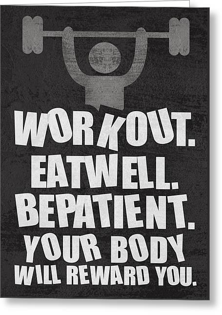 Gym Motivational Quotes Poster Greeting Card by Lab No 4 - The Quotography Department