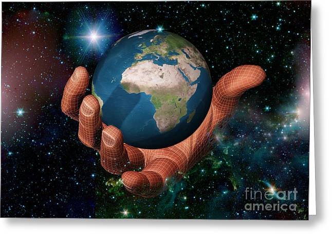 Hand Holding The Earth Greeting Card