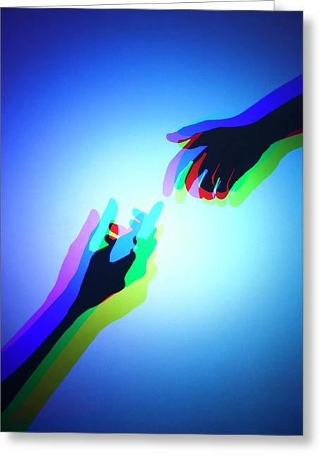 Hands With Colour Mixing Greeting Card by Science Photo Library